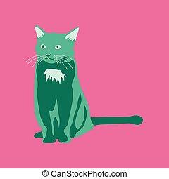 apartamento, estilo, vetorial, ilustração, gato