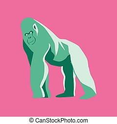 apartamento, estilo, vetorial, ilustração, gorila