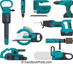 apartamento, estilo, vetorial, quadros, construção, repair., eletro, ferramentas