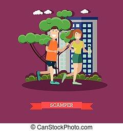 apartamento, estilo, vetorial, scamper, ilustração