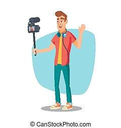 apartamento, estilo vida, clip, blogger, process., personagem, isolado, ilustração, vídeo, vector., tiroteio, caricatura