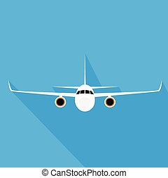apartamento, estilo, voando, ilustração, aeronave, vetorial,...