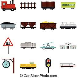 apartamento, estrada ferro, jogo, ícones
