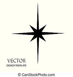 apartamento, estrela, illustration., cinzento, experiência., vetorial, branca, design., ícone
