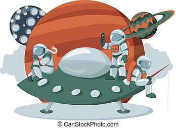 apartamento, expedição, imagem, espaço, aterragem, estrangeiro, astronauta, painel, navio, caricatura