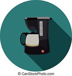 apartamento, fabricante café, ícone