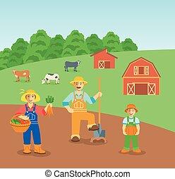 apartamento, família, cultive campo, fundo, agricultura