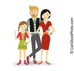 apartamento, família, pessoas, ilustração, uma criança, feliz