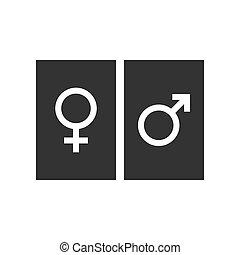 apartamento, femininas, ilustração, gênero, símbolo., vetorial, icon., macho, design.