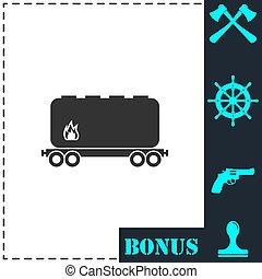 apartamento, ferrovia, tanque, ícone