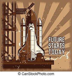 apartamento, foguete, launch., ilustração, vetorial, pronto