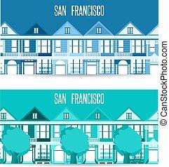 apartamento, francisco, san, marcos, vetorial, desenho, bandeiras horizontais