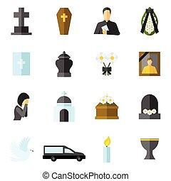 apartamento, funeral, jogo, ícones