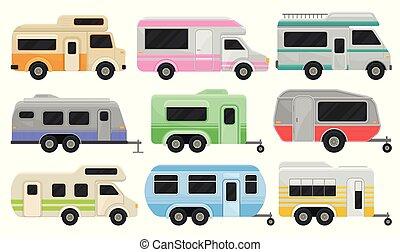 apartamento, furgões, jogo, família, carros clássicos, viagem, conforto, campista, recreacional, trailers., vetorial, vehicles., lar, wheels.