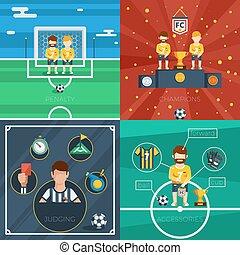 apartamento, futebol, composição, ícones