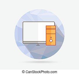 apartamento, geomã©´ricas, ícone computador