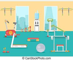 apartamento, ginásio, ilustração, vetorial, condicão física, style.