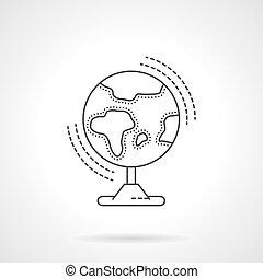 apartamento, globo, vetorial, desenho, linha, ícone