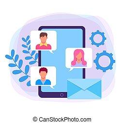 apartamento, gráfico, concept., ilustração, vetorial, desenho, conversa, online, mensagem, caricatura