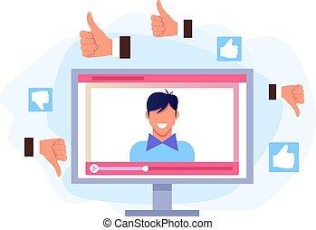 apartamento, gráfico, concept., isolado, ilustração, blogging, vetorial, vídeo, online, desenho, caricatura, tutorial