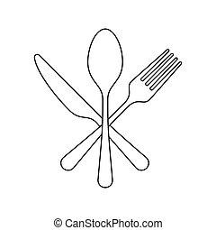 apartamento, gráfico, garfo, colher, desenho, ícone, faca, ...