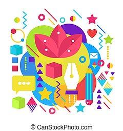 apartamento, gráfico, illustrator, illustration., coloridos, artista, cartaz, abstratos, pintura, luminoso, conceito, desenho, modelo, arte