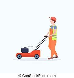 apartamento, gramado, conceito, jardinagem, grass mower, corte, comprimento, cheio, fundo, uniforme branco, jardineiro, homem