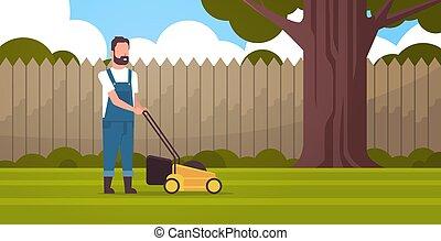 apartamento, gramado, conceito, jardinagem, jardim, em movimento, corte, comprimento, cheio, verde, agricultor, quintal, movedor, capim, horizontais, jardineiro, homem