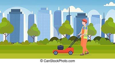 apartamento, gramado, conceito, jardinagem, modernos, grass mower, corte, comprimento, cheio, fundo, cityscape, horizontais, uniforme, jardineiro, homem