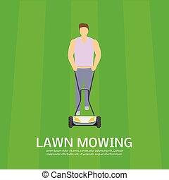 apartamento, gramado, conceito, mowing, estilo, campo, fundo...