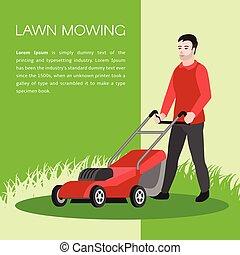 apartamento, gramado, conceito, mowing, estilo, fundo