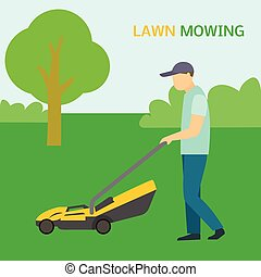 apartamento, gramado, conceito, mowing, estilo, fundo, homem