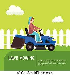 apartamento, gramado, conceito, mowing, estilo, fundo, ...