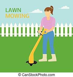 apartamento, gramado, conceito, trimmer, mowing, estilo, ...
