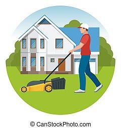 apartamento, gramado, serviço, mowing, concept., amarela, mower, summertime., vetorial, ilustração, capim, homem