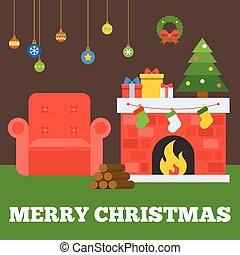 apartamento, guirlanda, meias, lenha, tipográfico, sofá, caixas, árvore, vetorial, desenho, feliz, penduradas, lareira, bola, presente natal