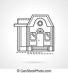 apartamento, habitação, vetorial, desenho, linha, ícone
