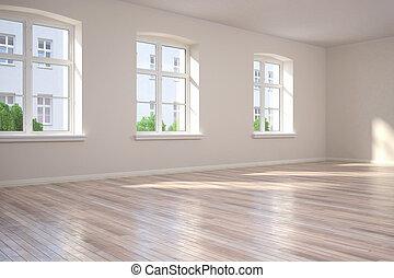 apartamento, -, habitación vacía, 3d
