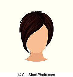 apartamento, haircut., shortinho, marrom, bang., penteado, cartaz, salão, longo, elemento, escuro, s, vetorial, femininas, hair., elegante, hairdressing, cabeça, mulheres