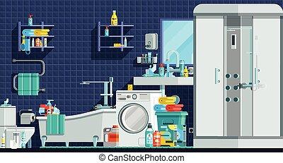 apartamento, higiene, ícones, composição, orthogonal