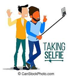 apartamento, homens, rindo., vector., pessoas, foto, levando, modernos, selfie, isolado, ilustração, juventude, câmera., retrato, concept., próprio