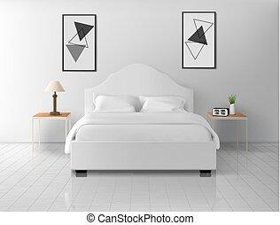 apartamento, hotel, interior, dormitorio, hogar, o, vacío