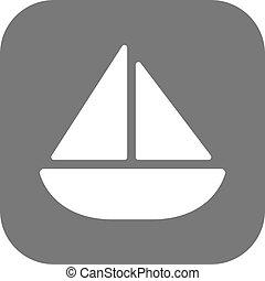 apartamento, iate, velejando, ícone