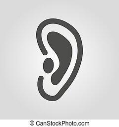apartamento, icon., orelha, símbolo., escutar