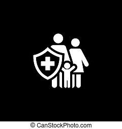 apartamento, icon., seguro, família, design.