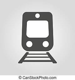 apartamento, icon., trem, símbolo., estrada ferro