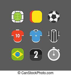 apartamento, icons., vetorial, desenho, partida futebol