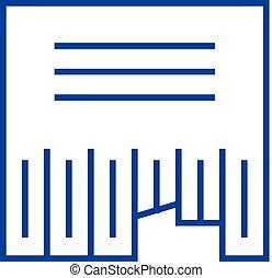 apartamento, illustration., ícone, sinal, concept., símbolo, vetorial, anunciando, linha, classifieds, esboço