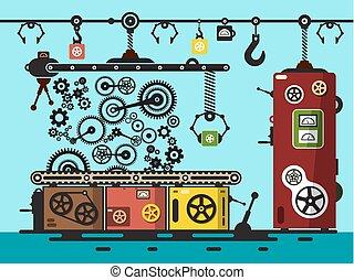 apartamento, illustration., cogs, fábrica, interior, vetorial, desenho, gears., linha, producao
