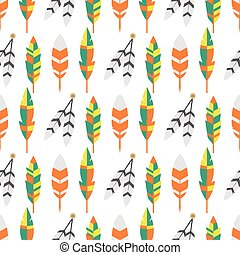 apartamento, illustration., coloridos, vindima, tribal, seamless, vetorial, étnico, padrão, pena, pássaro